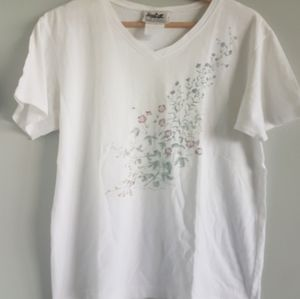 Northern Reflections 90s Floral V Neck T Shirt